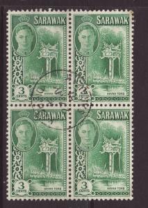 1950 Sarawak 3c Block of 4 Fine.Used SG173.