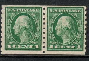 USA #412 Mint Fine - Very Fine Never Hinged Coil Pair