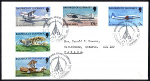 Guernsey Sc# 81-85 FDC 1973 7.4 Airplanes