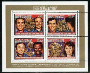 MAURITANIA 1986 MEMORIAL FOR THE SPACE SHUTTLE CHALLENGER DELUXE COLECTIVE SHEET