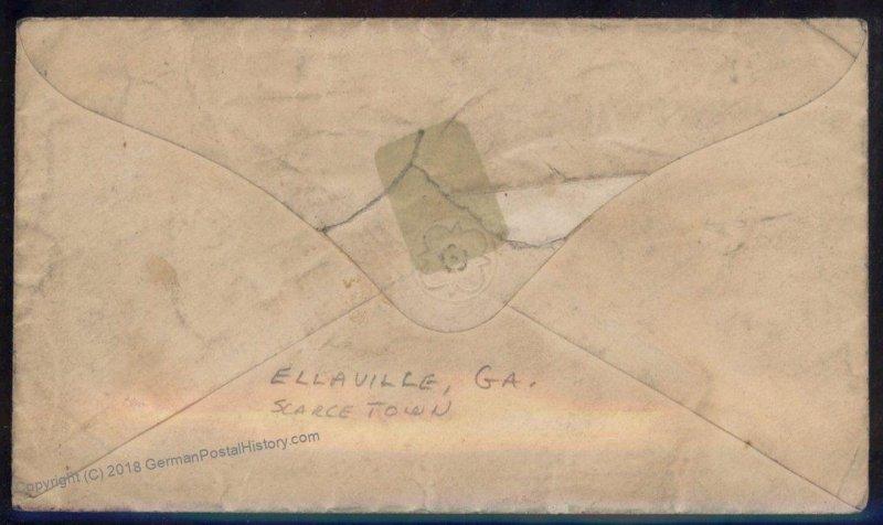 CSA #7 Civil War Confederate 5c Jefferson Davis Ellaville GA Cover 92713