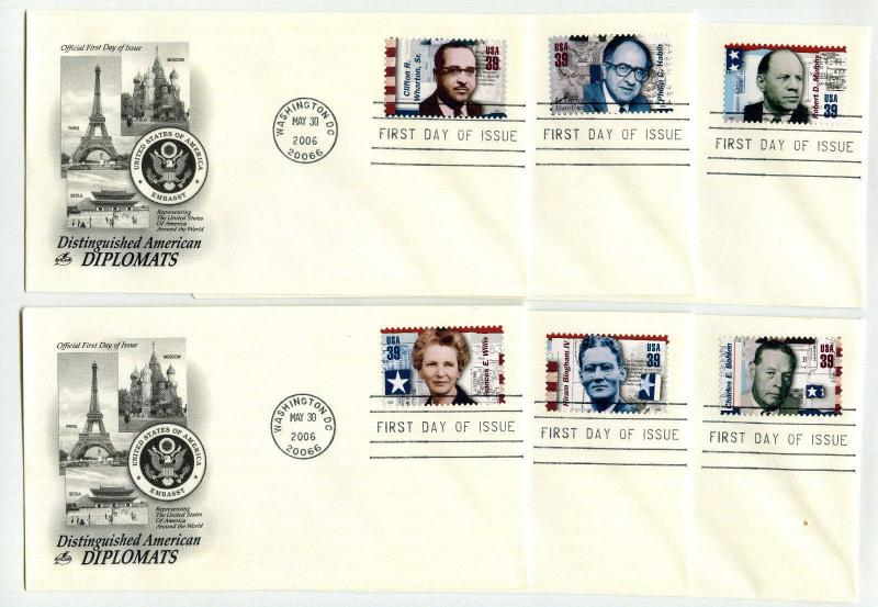 4076  Distinguished American Diplomats, set of 6 ArtCraft FDCs