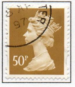 Great Britain Sc MH233 1993 50p ochre QE II  Machin Head stamp used