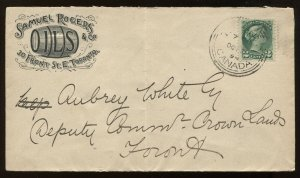 Canada 2 Cents Small Queen on cacheted 1894 local Toronto cover