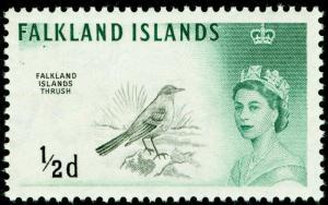 FALKLAND ISLANDS SG54, ½d black & myrtle-green, NH MINT.