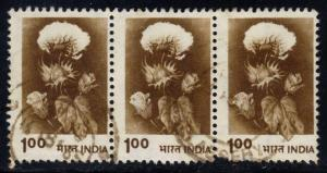 India #847a Hybrid Cotton, used strip of 3 (0.75)