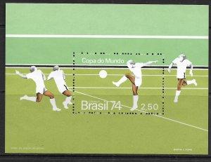 BRAZIL  1351    MNH  SOCCER SOUVENIR SHEET 1974