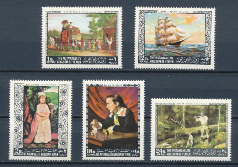 Yemen 1968 - Paintings by American and European masters - 5 issues MNH