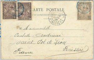 44980 - MADAGASCAR -  POSTAL HISTORY - Ethnic  POSTCARD to FRANCE - 1906