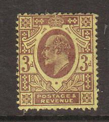 Great Britain Sc 132 MLH. 1902 3p KEVII, small part OG