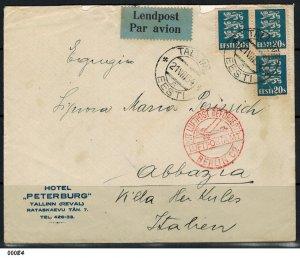 Estonia 1934 Airmail Cover To Berlin, Rome then Abbazia Italy