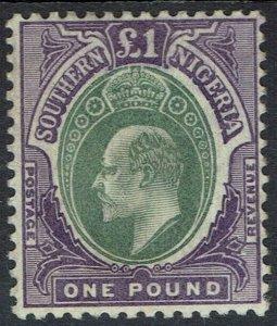 SOUTHERN NIGERIA 1903 KEVII 1 POUND WMK CROWN CA