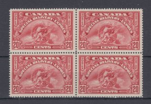 E6 Twenty Cent Special Delivery BLOCK of 4, SUPERB MNH post office fresh Canada