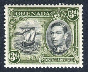 Grenada 1938 KGVI. 3d black & olive green. Mint. LH. P13.5 x 12.5. SG158a.