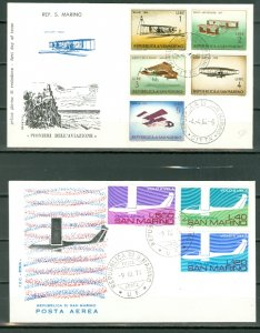 SAN MARINO LOT of 2 NICE AIR FDC