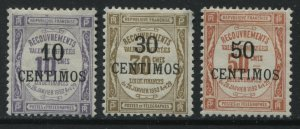 French Morocco 1909 10 to 50 centimos overprinted on French Postage Dues mint