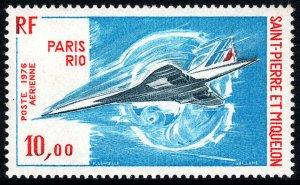 St Pierre & Miquelon C59,MNH.Paris to Rio,flight of supersonic jet Concorde,1976