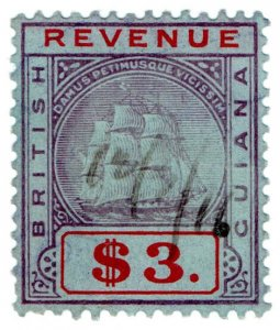 (I.B) British Guiana Revenue : Duty Stamp $3