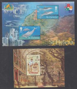 St. Helena Sc 761, 768 MNH. 2000 Souvenir Sheets, 2 different, Dolphins & Coffee
