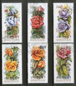 Bhutan 1973 Breeds of Roses Flower Tree Plant Sc 150-E 6v Cancelled # 2063