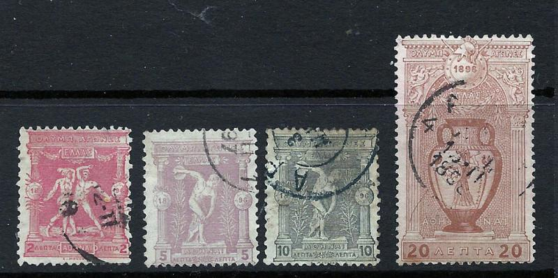 Greece 1896 Scott 118-21u fvf scv $23.75 Less 70%=$6.99 BIN