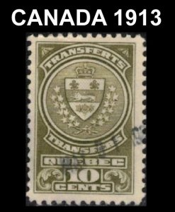 CANADA. QUEBEC 1913 REVENUE VINTAGE STOCK TRANSFER TAX STAMP 10c #QST12 VF USED