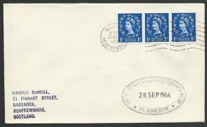 GB SCOTLAND 1964 cover Clyde Steamer cachet P.V. JEANIE DEANS..............48239