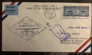 1931 Miami FL Usa first flight cover FFC To Saint P Macoris Dominican Rep FAM6