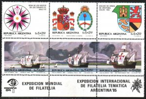 Argentina. 1984. 1684-89. Discovery of America, sailboats. MNH.