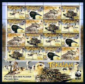[94607] Tokelau 2007 Birds Vögel Oiseaux Pacific Golden Plover WWF Sheet MNH