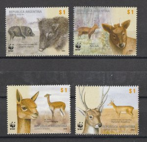 Argentina MNH 2192a-d Animals WWF 2002