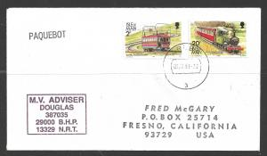 1991 Paquebot Cover Isle of Man Train stamps used in Aruba