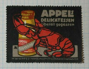 Appel's Mayo Delicacies Eaten Lobster German Brand Poster Stamps Ads