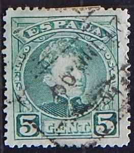 Spain, 1901, King Alfonso XIII - Blue Control Numbers on Backside, YT #213