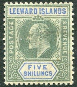 LEEWARD ISLANDS-1902 5/- Green & Blue Sg 28 small tone spot lower right MM