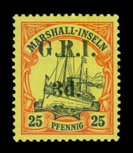 German Colonies - NEW BRITAIN G.R.I. Marshall Is 3d/25pf yellow Sc# 34 mint MLH