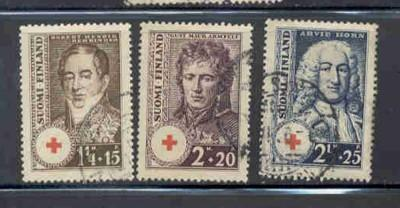 Finland Sc B21-3 1936 Red Cross Charity stamp set used