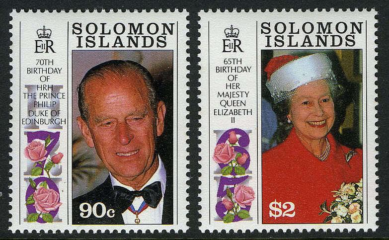 Solomon Islands 688-689,MI 748-9,MNH.Birthday Greetings:QE II, 65,Philip,70,1991