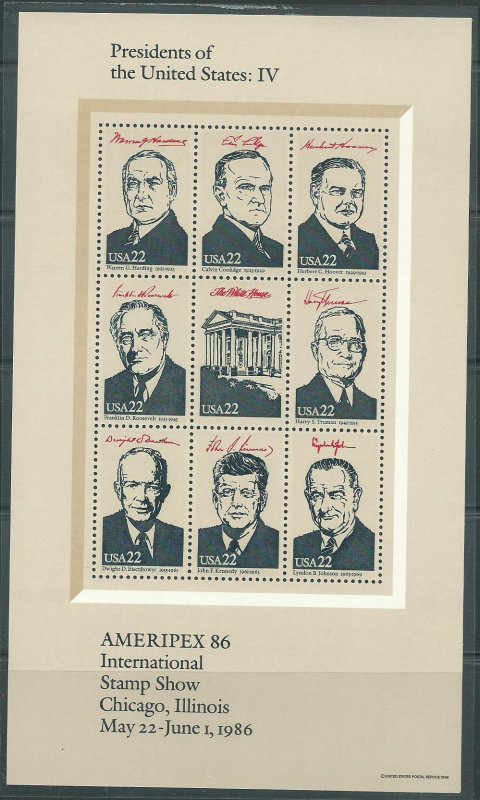 1986 United States Presidents of the United States Set of 4 Souvenir Sheets MNH