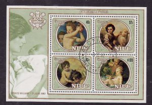 Niue-Sc#363a- id5-used sheet-Paintings-Christmas-Princess Diana-1982-