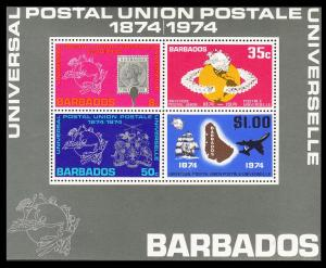 Barbados Ship Airplane Centenary of UPU MS SG#MS505 SC#415a