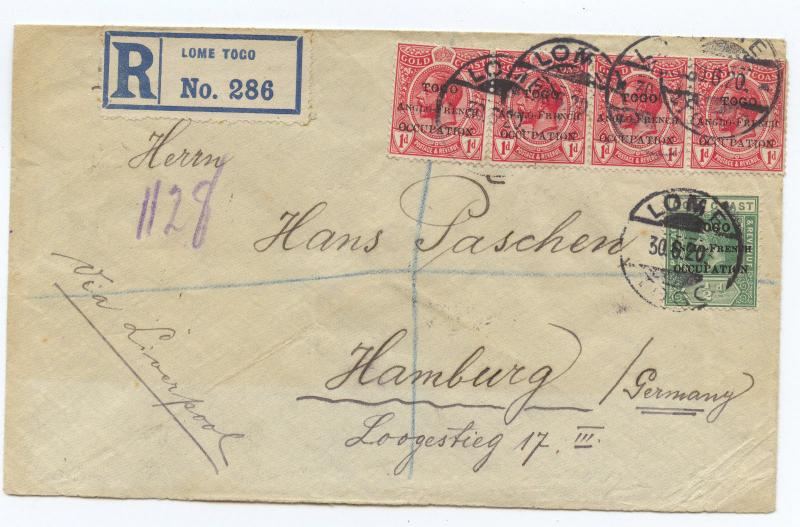 Togo 1920, British Occupation, London overprint, R-cover to Germany (Rare !)