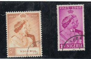 NIGERIA # 73-74 VF-LIGHTLY USED KGV1 1948 SILVER WEDDING CAT VALUE $24+
