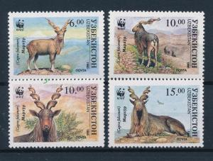 [53976] Uzbekistan 1995 Wild animals Mammals WWF Markhor Wild goat MNH