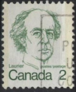 Canada 587 (used) 2c Sir Wilfrid Laurier, grn (1973)
