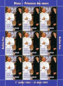 Burkina Faso 1997 POPE JOHN PAUL II & PRINCESS DIANA Sheet Perforated Mint (NH)