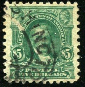 USA 480 1916-17 $5 Marshall, Light Green used F CV $115.00