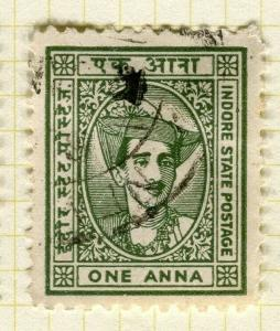INDIA; INDORE 1927 early pictorial issue fine used 1a. value