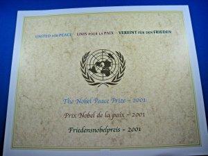 UN NEW YORK - SCOTT #816 - 2001 NOBEL PEACE PRIZE FOLDER  MNH