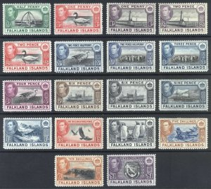 Falkland Is 1938 1/2d- £1 Pictorial SG 146-163 Sc 84-96 LMM/MLH Cat £475($580)